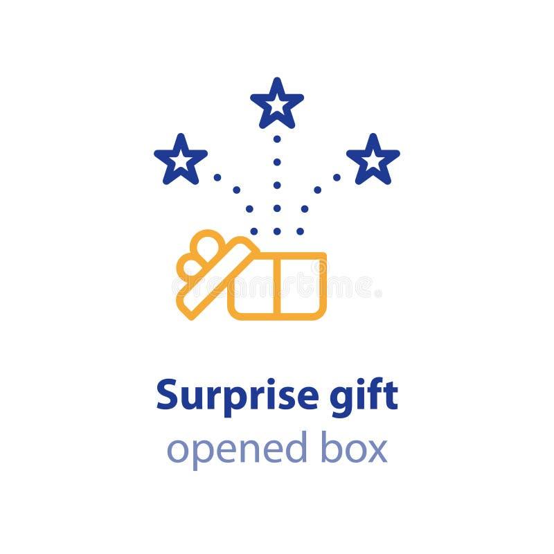 La experiencia de la diversión, evento de la celebración, recibe la caja de regalo, presente abierto ilustración del vector