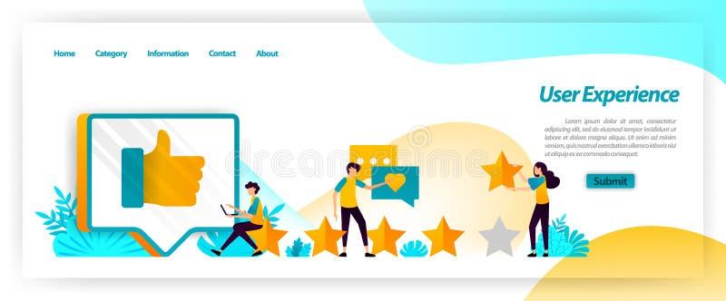 La experiencia del usuario incluyendo comentarios, grados y estudios es reacción en la satisfacción del cliente de manejo al util ilustración del vector