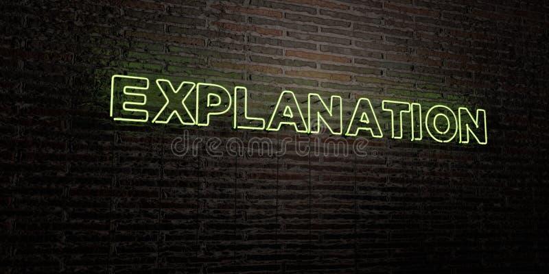 La EXPLICACIÓN - señal de neón realista en fondo de la pared de ladrillo - 3D rindió imagen común libre de los derechos libre illustration
