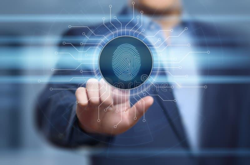 La exploración de la huella dactilar provee del acceso de la seguridad la identificación de la biométrica Concepto de Internet de imagen de archivo