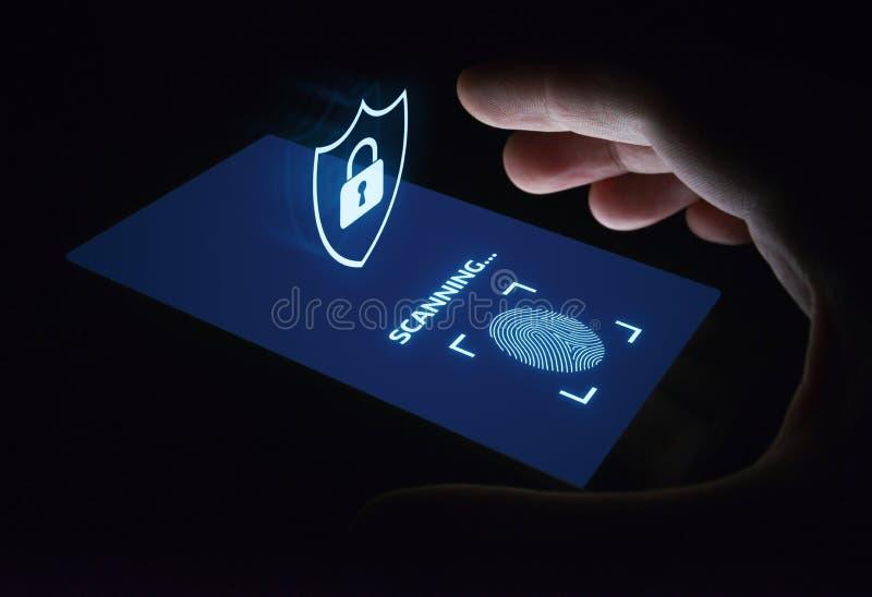 La exploración de la huella dactilar provee del acceso de la seguridad la identificación de la biométrica Concepto de Internet de imagenes de archivo