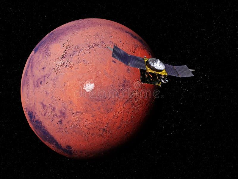 La exploración de Marte del planeta, punta de prueba de espacio del EXPERTO delante del polo sur marciano, elementos de esta imag ilustración del vector