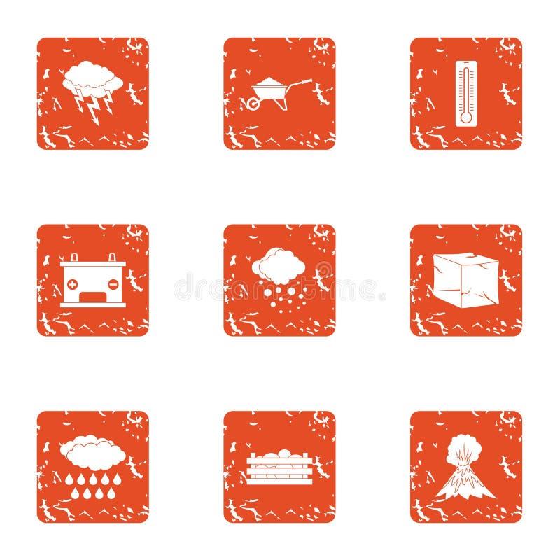 La explosión de los iconos del volcán fijó, estilo del grunge ilustración del vector