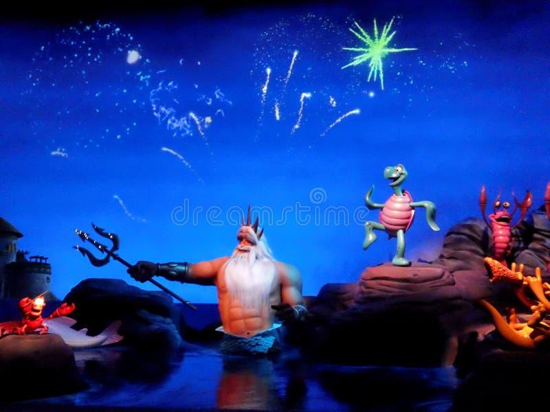 La explosión y los animales de los fuegos artificiales bailan con rey Triton al hijo de Posiden fotografía de archivo libre de regalías