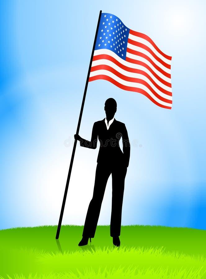 La explotación agrícola Estados Unidos del arranque de cinta de la empresaria señala por medio de una bandera ilustración del vector