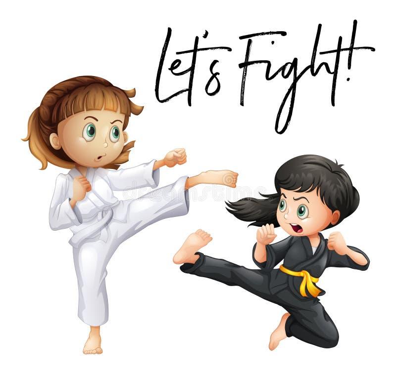 La expresión de la palabra para dejó el ` s luchar con luchar de dos muchachas stock de ilustración