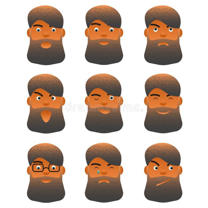 La expresión facial fijó al hombre barbudo de la historieta joven, diverso varón facial del carácter para el avatar stock de ilustración