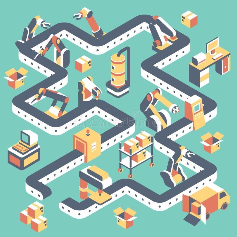 La fábrica automatizó la cadena de producción ejemplo isométrico plano del vector stock de ilustración