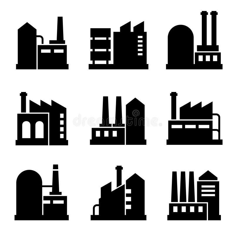 La fábrica y el icono del edificio industrial del poder fijaron 2 stock de ilustración