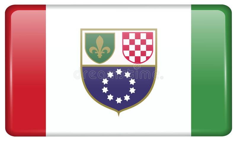 La fédération de la Bosnie-Herzégovine de drapeaux sous forme d'aimant sur le réfrigérateur avec des réflexions s'allument illustration stock