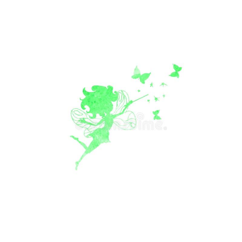 La fée avec l'aquarelle de papillons silhouette l'icône illustration stock