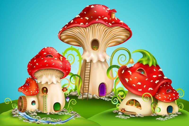La fée loge les champignons rouges avec le moulin à eau, la cloche d'or et les hiboux illustration stock