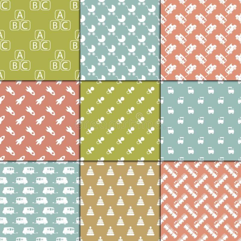 La fête de naissance joue l'illustration nouveau-née de papier de textile de modèle de fond de vecteur d'album mignon sans coutur illustration stock