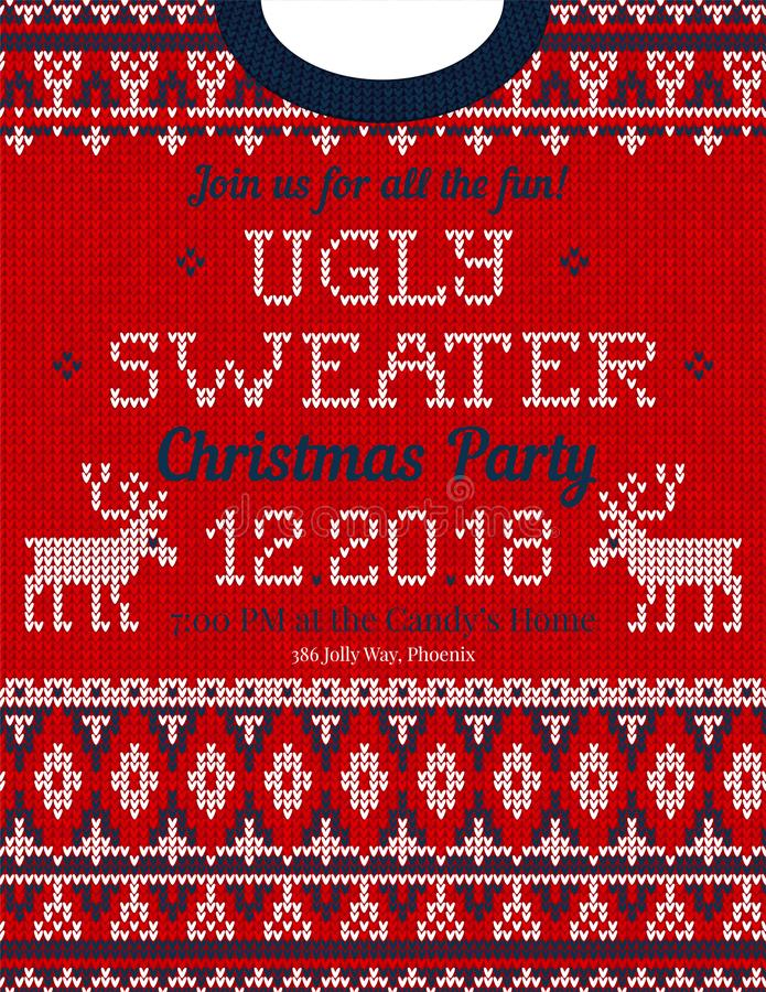 La fête de Noël laide de chandail invitent Ornements tricotés de Scandinave de modèle de fond photographie stock libre de droits