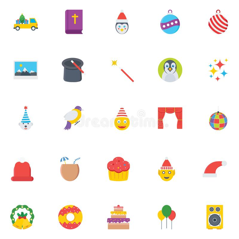 La fête de Noël que les icônes de vecteur de couleur placent cela peut être facilement modifiée ou éditée illustration libre de droits