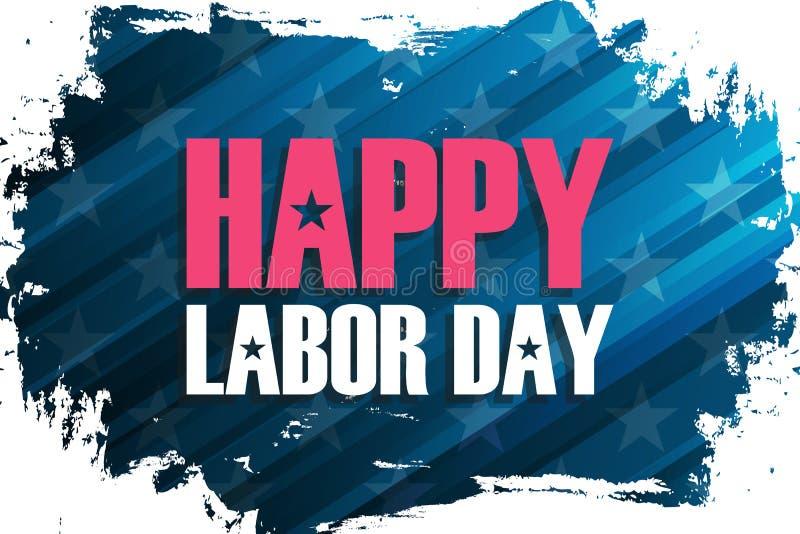 La Fête du travail des Etats-Unis célèbrent la bannière avec le fond de course de brosse et la Fête du travail heureuse de saluta illustration stock
