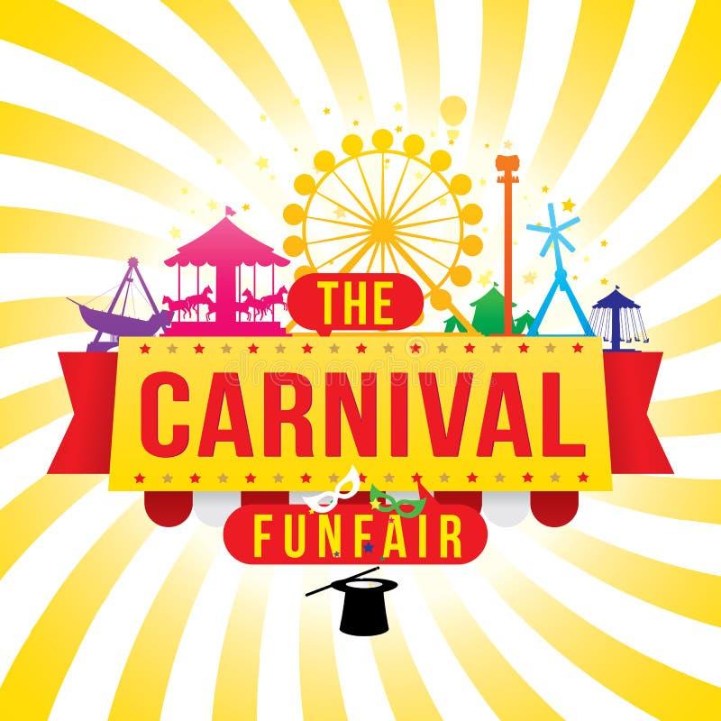 La fête foraine et le spectacle de magie de carnaval illustration stock