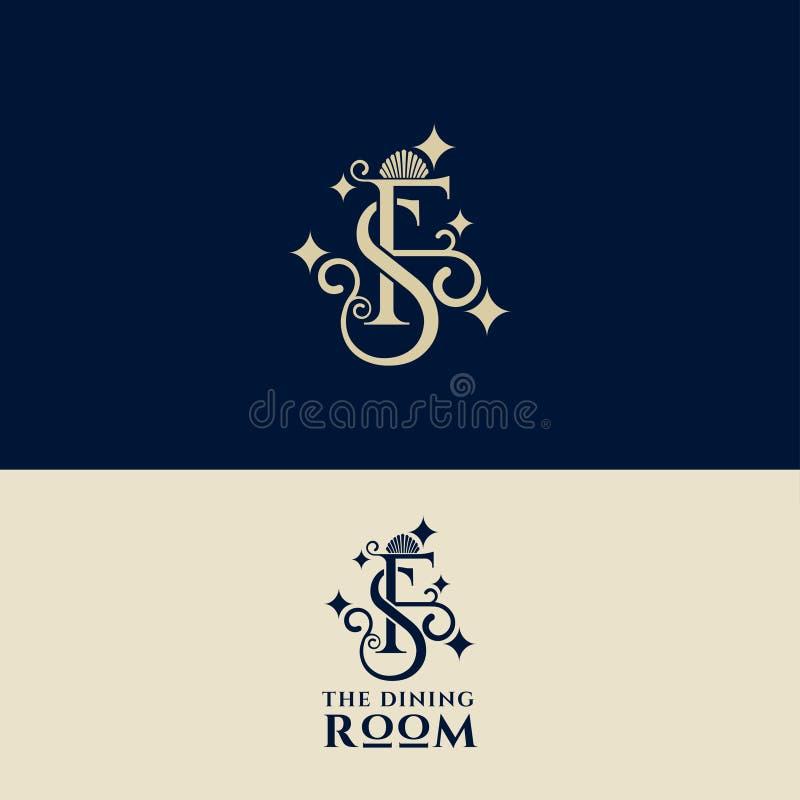La F, S segna la progettazione con lettere di lusso di logo Emblema per l'hotel, boutique, deposito di modo royalty illustrazione gratis