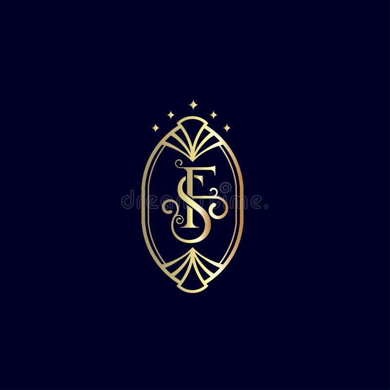 La F, S segna la progettazione con lettere di lusso di logo Emblema per l'hotel, boutique, deposito di modo illustrazione di stock