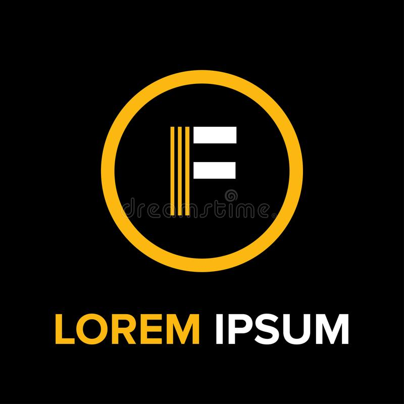 La F segna il logo con lettere per l'affare fotografie stock libere da diritti