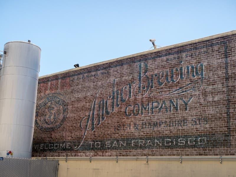 La façade extérieure de la compagnie de brassage de vapeur d'ancre siège image libre de droits