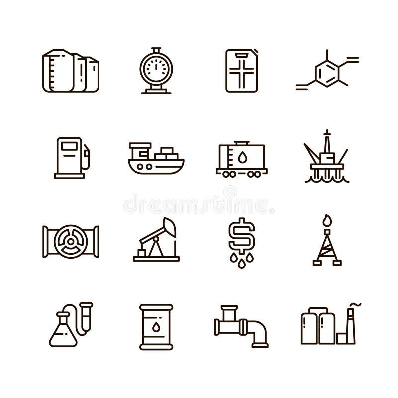 La fabbricazione del gas e del petrolio e l'attrezzatura industriale vector la linea icone illustrazione di stock