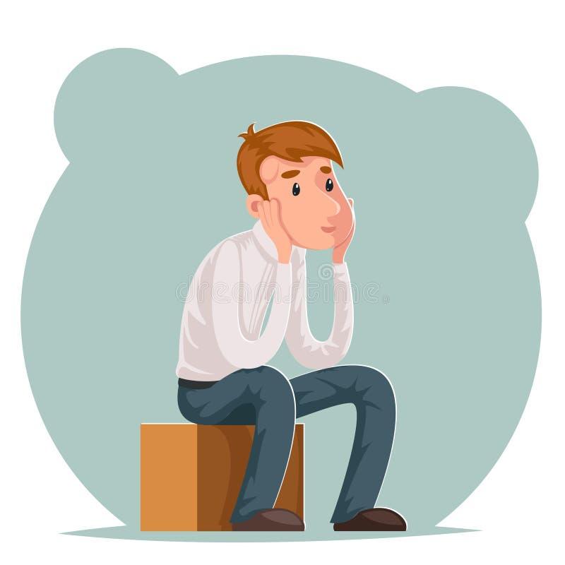 La fabricación decisión del hombre de negocios pensativo se sienta en la caja piensa el ejemplo del vector de la plantilla del di ilustración del vector