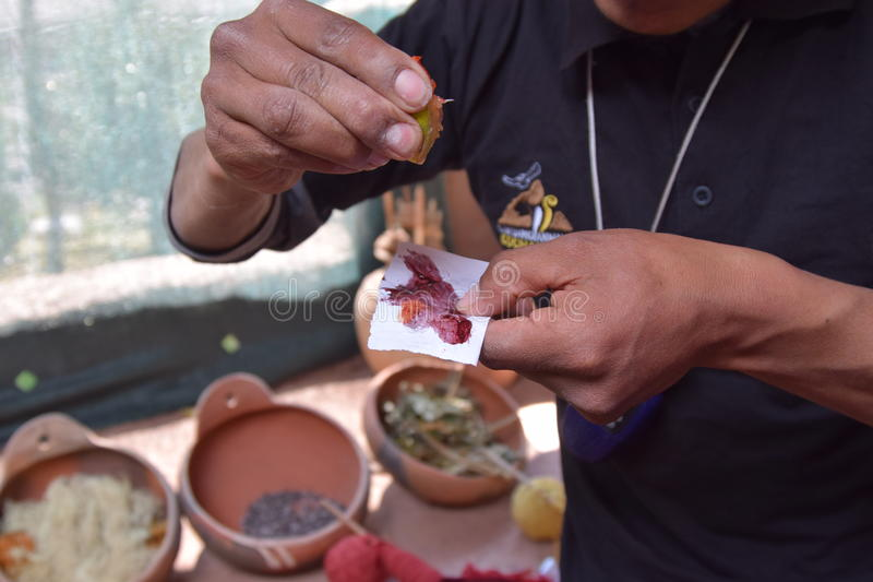 La fabricación teñe de la naturaleza en Cuzco, Perú fotografía de archivo