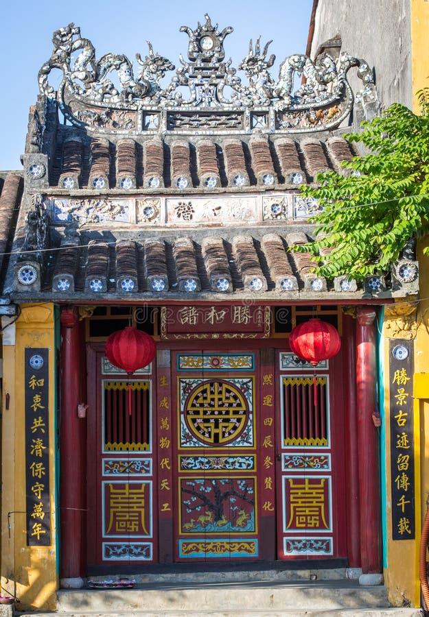 La facciata del tempio cinese in Hoi An, Vietnam immagine stock libera da diritti