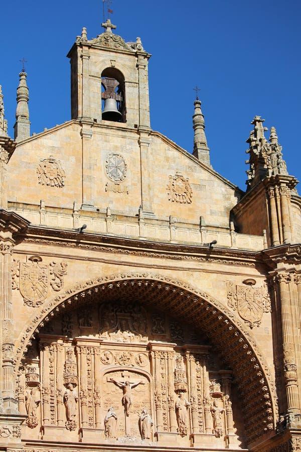 La facciata della cattedrale del convento di de San Esteban, Salamanca, Spagna fotografie stock libere da diritti