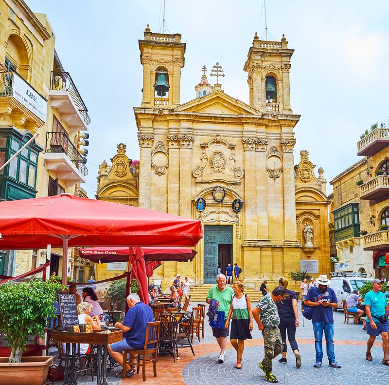 La facciata della st George Basilica, Victoria, Gozo, Malta immagini stock libere da diritti
