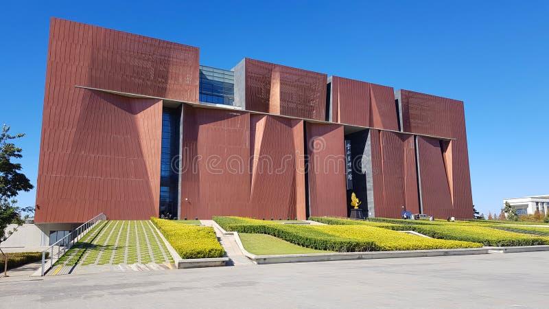La facciata di nuova costruzione del museo provinciale del Yunnan, Kunming, il Yunnan, Cina immagini stock libere da diritti