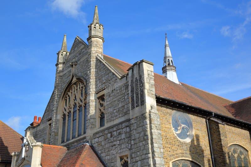 La facciata esterna di Leigh Wesley Methodist Church, situata sulla strada dell'olmo in Leigh sul mare immagini stock