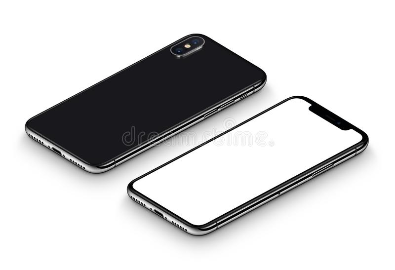 La facciata frontale del modello nero dello smartphone di prospettiva ed il lato posteriore CW hanno girato la menzogne sulla sup illustrazione vettoriale