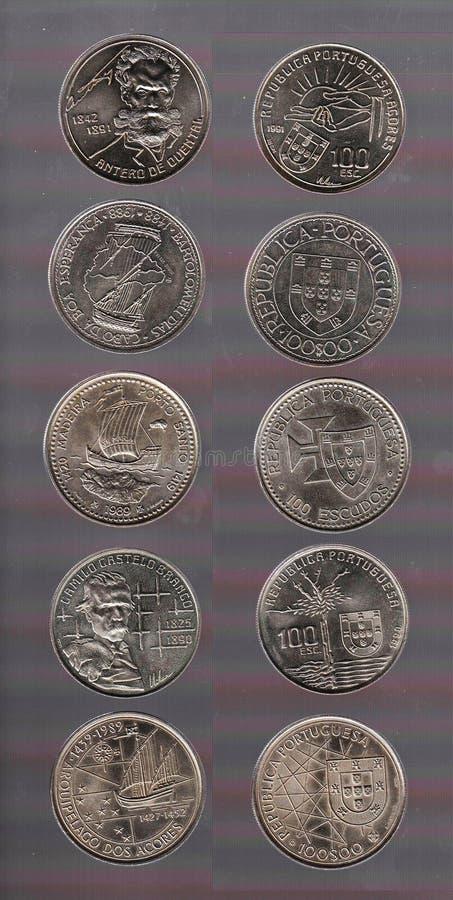 La face et l'inverse d'une collection de pièces de monnaie de Portugais 100 escudos illustration de vecteur