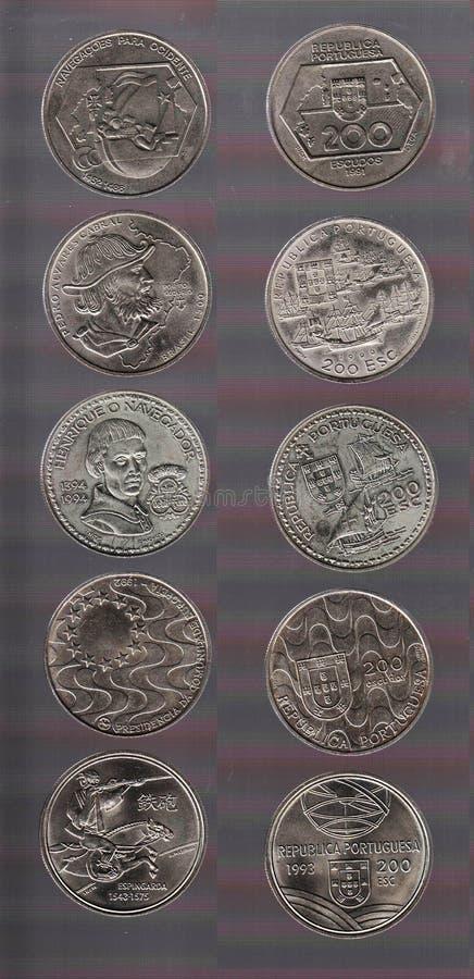 La face et l'inverse d'une collection de pièces de monnaie de Portugais 200 escudos illustration stock