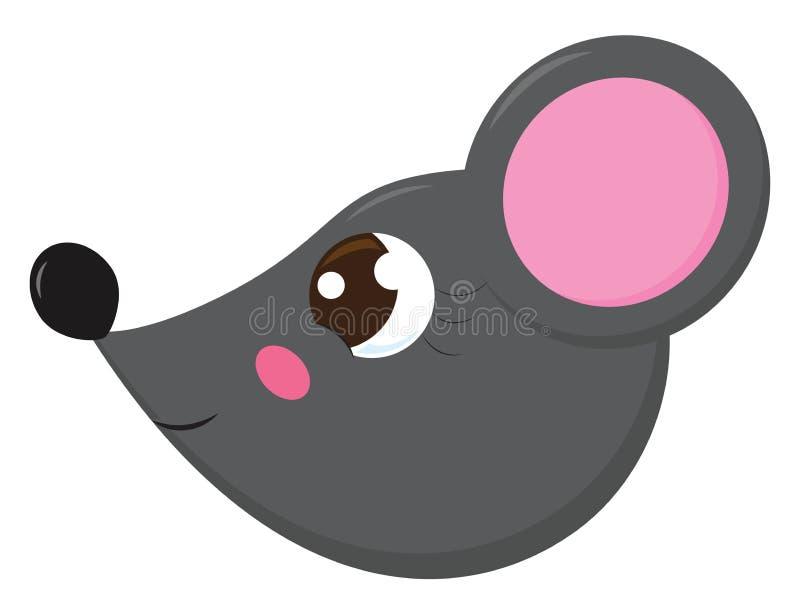 La face latérale d'une jolie petite illustration de couleur grise ou vectorielle de souris illustration stock