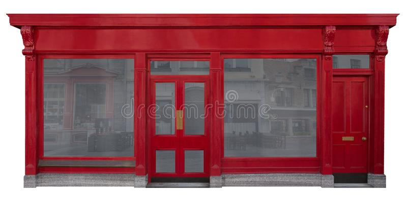 La fachada del negocio con la entrada de madera roja cortó en el fondo blanco ilustración del vector