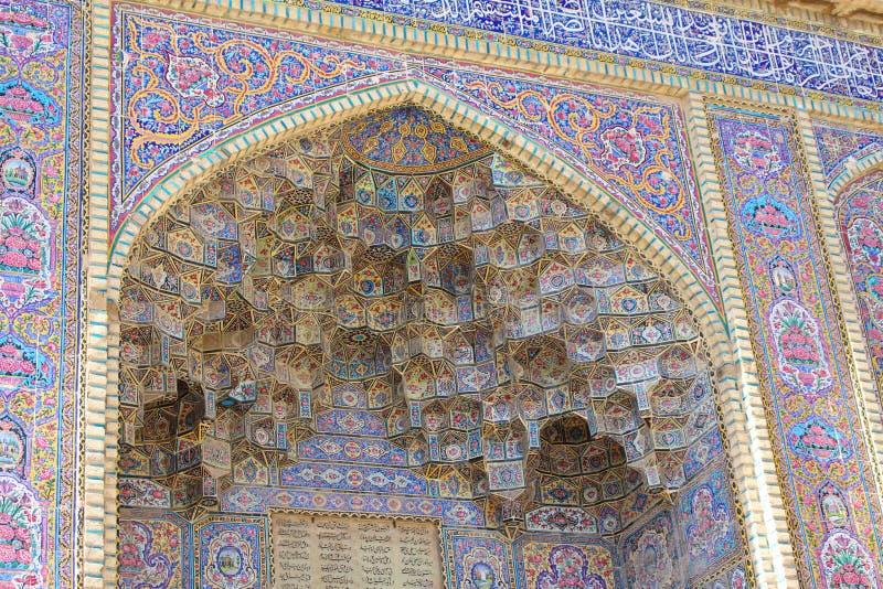 La fachada exterior de la mezquita de Molk del ol de Nasir, Shiraz, Irán imagenes de archivo