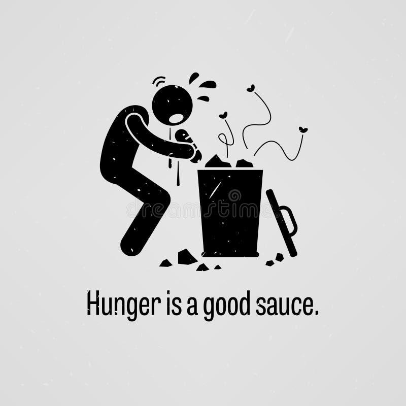 La faim est une bonne sauce illustration stock