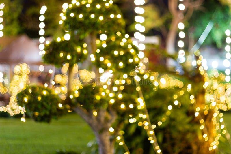 La falta de definición - bokeh - secuencia al aire libre decorativa enciende la ejecución en árbol en el jardín en la noche fotos de archivo libres de regalías