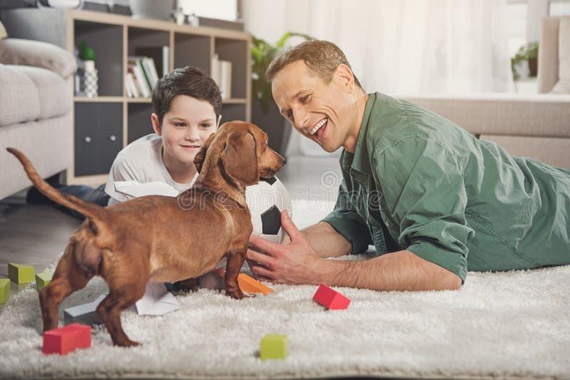 La famiglia allegra ed il bassotto tedesco inseguono il gioco con la palla fotografie stock libere da diritti