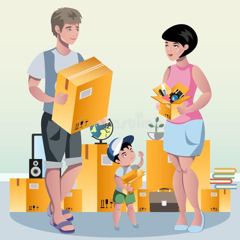 La famiglia che imballa la loro roba e prepara per la rilocazione royalty illustrazione gratis