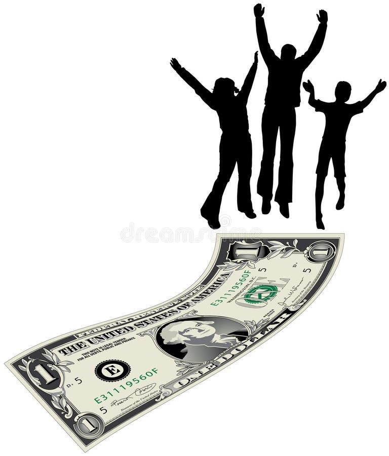 La famiglia che salta sulla fattura del dollaro illustrazione di stock