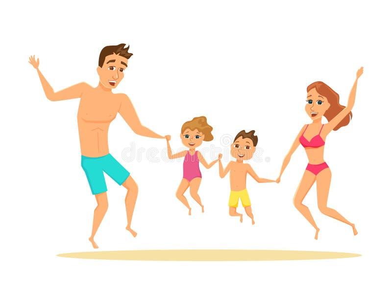 La famiglia che salta sulla spiaggia royalty illustrazione gratis