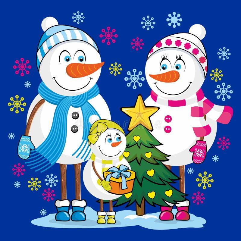 La famiglia dei pupazzi di neve celebra la festa del nuovo anno e di Natale illustrazione vettoriale