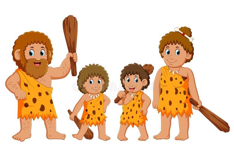La famiglia del cavernicolo sta posando e sorridendo illustrazione vettoriale