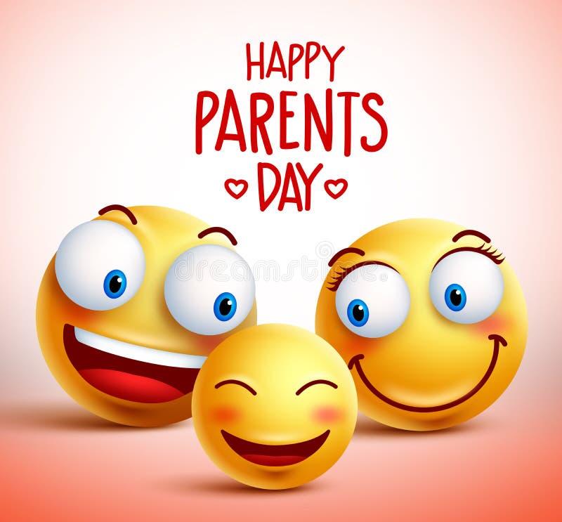 La famiglia dello smiley affronta i caratteri di vettore per il giorno felice dei genitori illustrazione di stock
