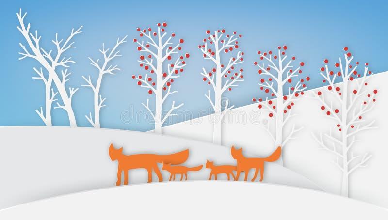 La famiglia di Fox sta camminando con neve e l'albero fotografia stock
