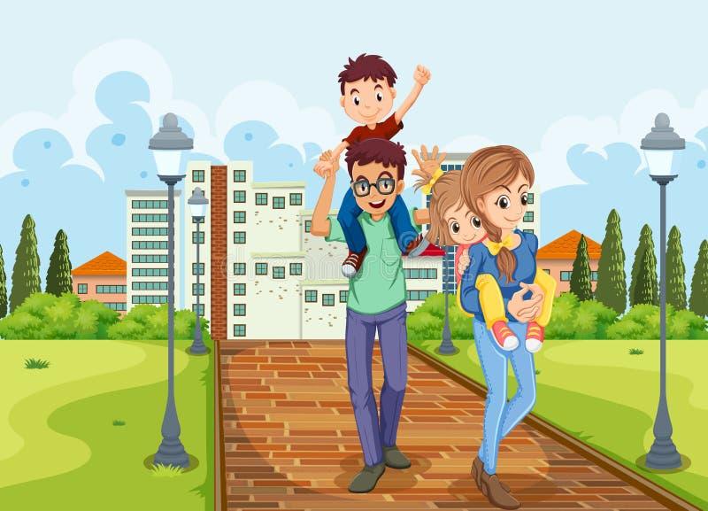 La famiglia fa una passeggiata nella sosta illustrazione vettoriale